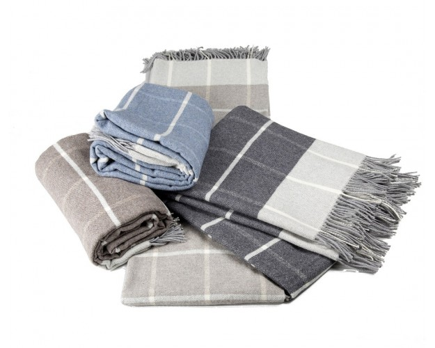Plaid Label Naturel Faro carreaux Mérinos   Cachemire finition franges 0825879e44c