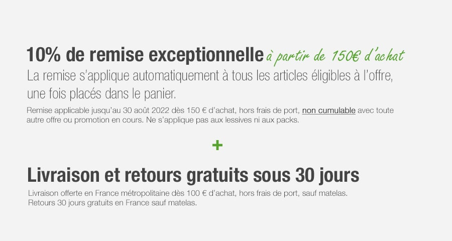 Promotion sur le linge de maison label naturel -10%